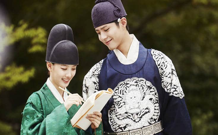 "Park Bo-gum in character as Crown Prince Hyomyeong or Lee Yeong with co-star Kim Yoo-jung in ""Love in the Moonlight."""