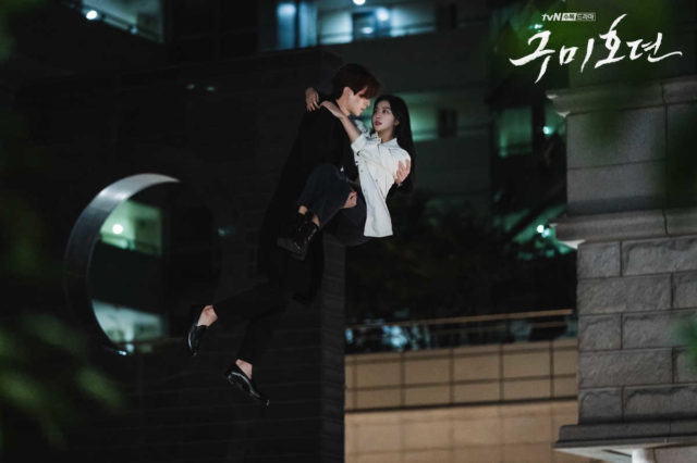 """Flying Lee Dong-wook catches falling Jo Bo-ah  in """"Tale of the Nine-Tailed"""" episode 1."""